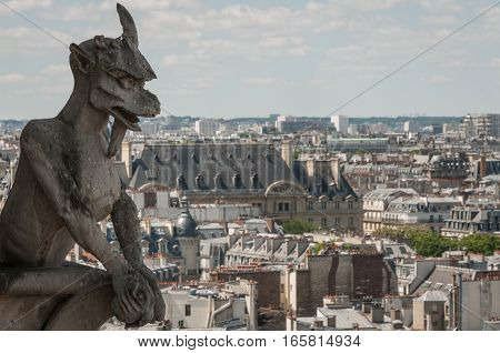 Gargoyle of Notre Dame de Paris over the city view