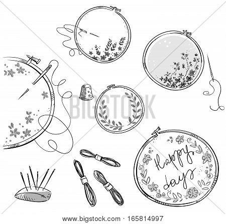Embroidery set, handmade. Hand drawn verctor illustration