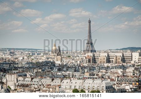 Paris city view with Eiffel tower on sunny day