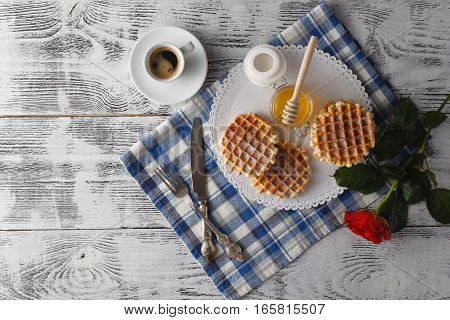 Unhealphy Breakfast With Cup Of Tea For Lover