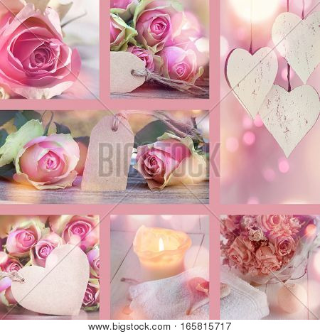 Collage with pastel colored roses for Valentines Day and Mothers Day
