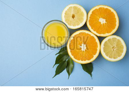 citrus fruits over blue for a   background