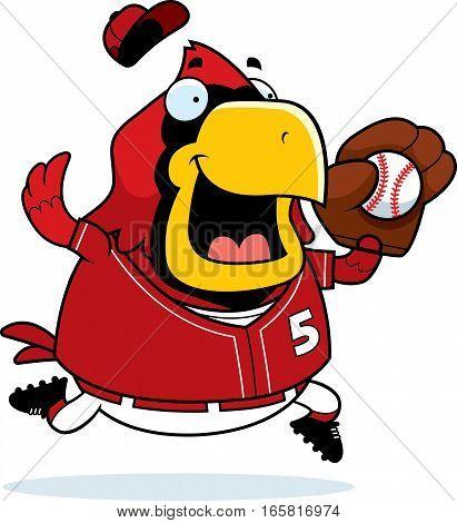 Cartoon Cardinal Baseball