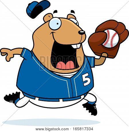Cartoon Hamster Baseball