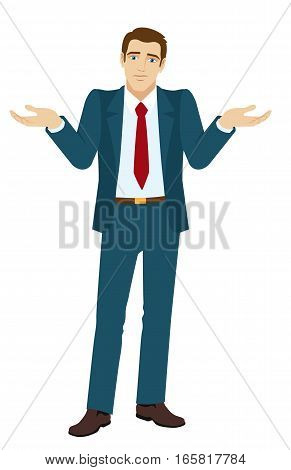 I don't know. Businessman with an I don't know gesture. Businessman shrugging. Vector illustration.