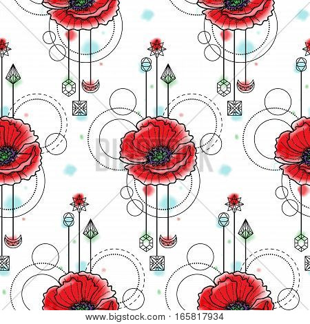Abstract floral techno seamless pattern with poppy and geometric elements on white background. Modern wallpaper with vector watercolor effect.