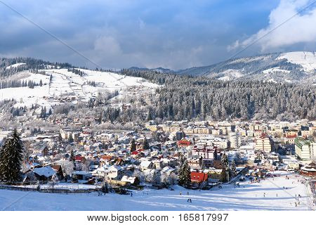 Vatra Dornei in winter time with snow, view from top of the sky slope, romania