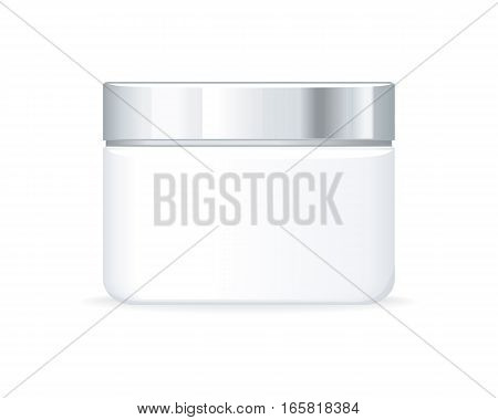 Cream or gel bottle isolated on white. Empty cosmetic product tube. Reservoir without label. No logo or trademark on the flask. Part of series of decorative cosmetics items. Vector illustration