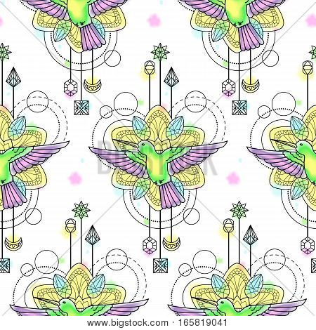Abstract techno seamless pattern with colibri, mandala and geometric elements on white background. Modern wallpaper with watercolor effect.