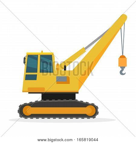 Building crane isolated on white. Caterpillar Crane vector banner. City building concept in flat design. Construction machines. Transport and moving materials, earthworks illustration for advertise.