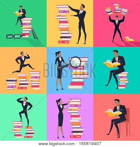 Set of reading books concept vectors. Flat design. Man and woman characters in business clothes  with stack of books. Self-education, educational level, getting knowledge, literature reading concepts.