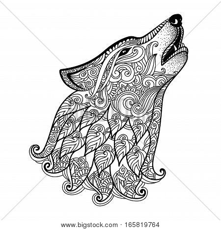 Hand Drawn Wolf Side View With Ethnic Floral Doodle Pattern Coloring Page Zentangle Design For Relaxation And Meditation Adults Vector Illustration