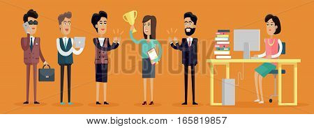 Set of business people characters in flat style design. Happy woman with winner cup. Business men and women in business suits congratulating winner. Variety human personages in workflow process.