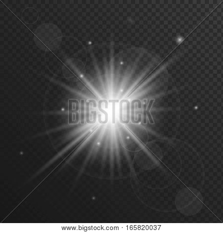 Light flare or star explosion with glowing sparkles and lens flare effect. White burst on transparent background