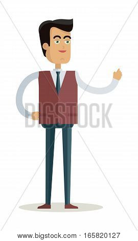 Teacher character vector. Cartoon in flat style design. Smiling man in business suite standing with raised hand. Illustration for study, business concepts, icons, infographics. Isolated on white.