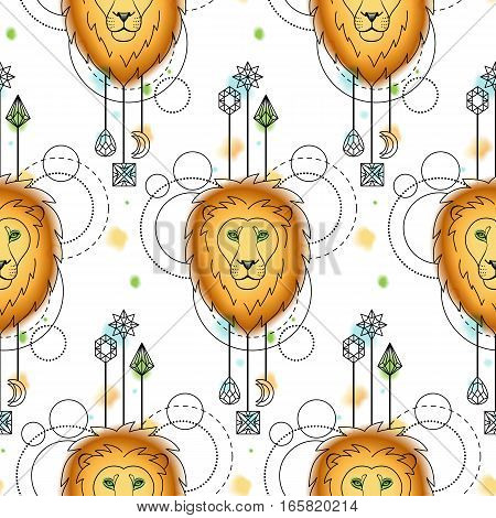 Abstract techno seamless pattern with lion and geometric elements on white background. Modern wallpaper and textile print with watercolor effect.