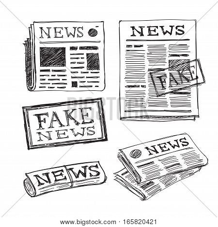 newspaper hand drawn icons set. fake news stamp, vector doodle illustration
