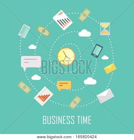 Business time concept. Vector illustration with wall clock and devices for communication on blue background. Internet marketing. World time concept. Business background in flat.