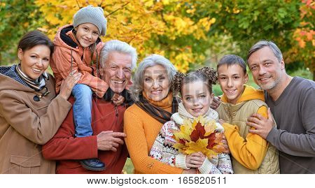 Portrait of a big happy family in autumnal park
