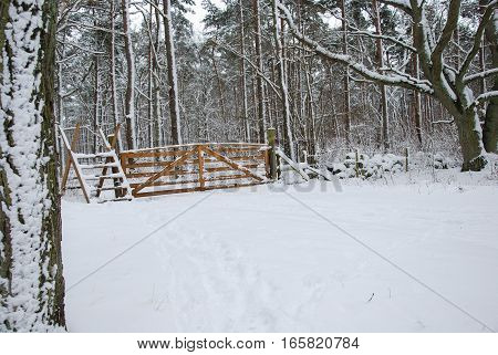 Snowy wooden gate and a stile in a winter land