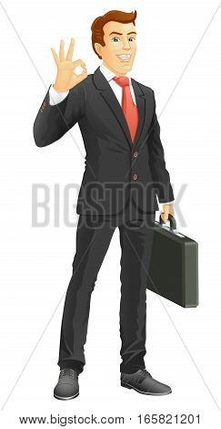 OK! Smiling businessman show a okay hand sign. Vector illustration.