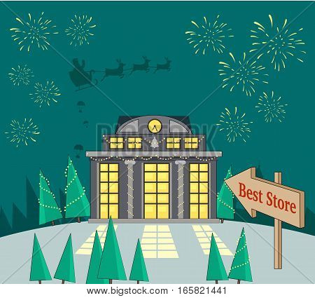 Best store. Xmas sale glowing shop. Fireworks and santa with reindeers in sky on snowy background. Magic store with lighted windows waits for consumers. Special winter holiday offer promotion. Vector