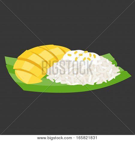 sticky rice with mango on banana leaf, thai dessert, flat design