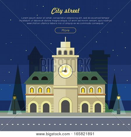 Urban city illustration at night time. Building with clock. Three storey building with windows in arc form. Tower with big clock in the center of the building. Vector illustration in flat style