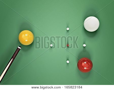 aerial view of billiard table during snooker match - 3D rendering