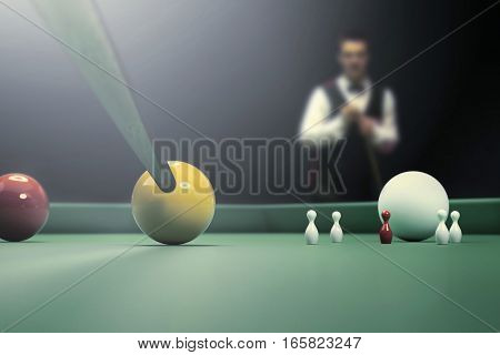 snooker players during match on billiard table