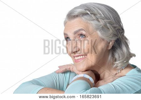 Portrait of a beautiful mature woman, close up