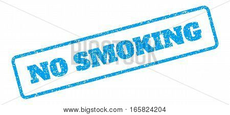 Blue rubber seal stamp with No Smoking text. Vector tag inside rounded rectangular frame. Grunge design and scratched texture for watermark labels. Inclined blue sticker on a white background.