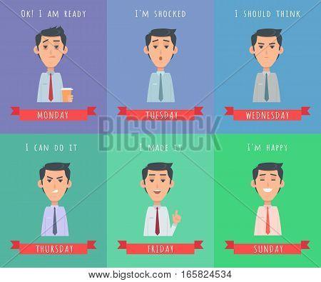 Set of man illustrations. Ok I m ready. I m shocked. I should think. I can do it. I made it. I m happy. Avatar userpics of emotions. Monday, Tuesday, Wednesday, Thursday, Friday, Saturday, Sunday.
