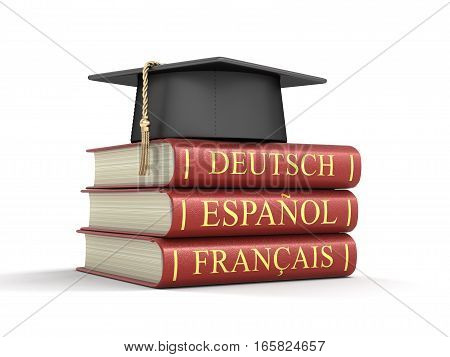 3D Illustration. Graduation cap and Stack of language dictionaries. Image with clipping path