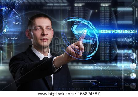 Business, Technology, Internet And Network Concept. Young Businessman Working On A Virtual Blackboar