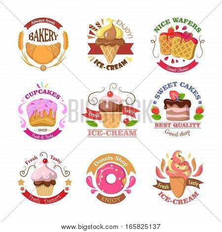 Set of confectionery logos isolated. Always fresh bakery. Enjoy ice cream. Nice wafers good choice. Cupcakes shop fresh and tasty. Ice cream. Sweet best quality cakes. Donuts shop. Vector illustration