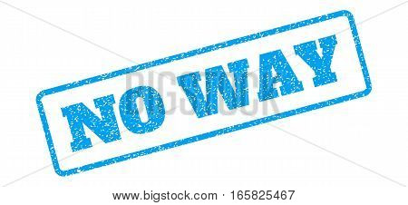 Blue rubber seal stamp with No Way text. Vector message inside rounded rectangular frame. Grunge design and dust texture for watermark labels. Inclined blue sticker on a white background.