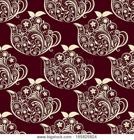 Seamless Floral Teapot Pattern. Seamless pattern for your design, invitation card, menu, cafe, bar and other food and drink wrapped projects. Fabric Teapot Pattern.