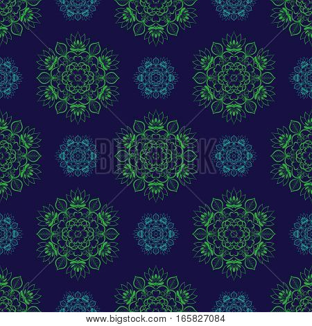 Seamless Green Blue Floral Mandala Pattern. Seamless pattern for your designs, invitation card, yoga, meditation, astrology and other wrapped projects.