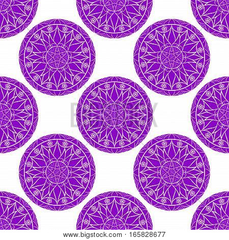 Vector Seamless Lilac Floral Mandala Pattern. Seamless pattern for your designs, invitation card, meditation, astrology and other wrapped projects. Fabric Mandala Pattern. Pattern in swatches panel.
