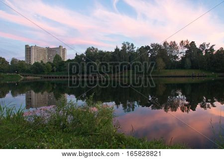 Pond And Forest At Sunset
