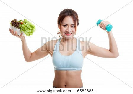 Beautiful Asian Healthy Girl With Dumbbell And Salad.