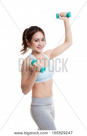 Beautiful Asian Healthy Girl Exercise With Dumbbell.