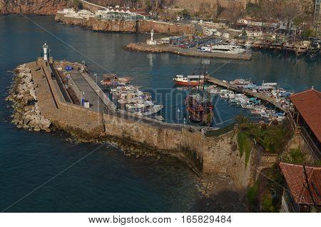 many fishing boats parking near pier antalya turkey