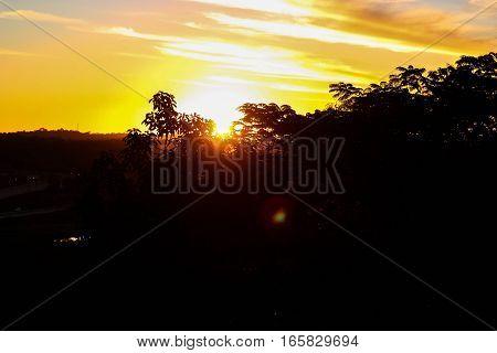 Sunset; landscape; forest; clouds; sky; light; evening; evening; Sun