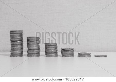 Closeup pile of coin start from high to low on white wood desk and cream wallpaper textured background in black and white tone with copy space