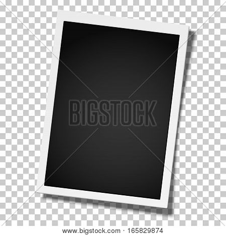 Realistic vector retro photo frame placed vertically on transparent background. Template photo design.