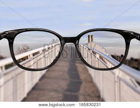 Clear vision through glasses over bridge perspective
