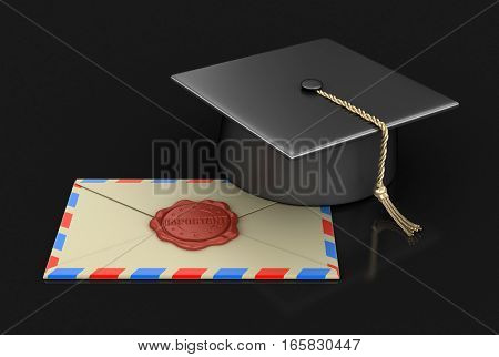 3D Illustration. Graduation cap and letter with Wax Stamp. Image with clipping path