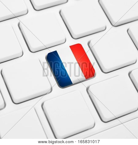 French Language Or France Web Concept. National Flag Button Or Key On Keyboard